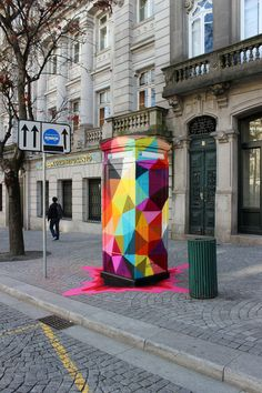 Oscar San Miguel Erice a.k.a. Okuda born 1980 in Santander, Spain is an urban artist who specializes in street art, murals, sculptures and installations. Okuda is inspired by surrealism art, pop art, and even different culture the come across with through out his travels.