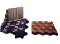 Pflaster verlegen, Rhombeförmig (3D Stein) 3d