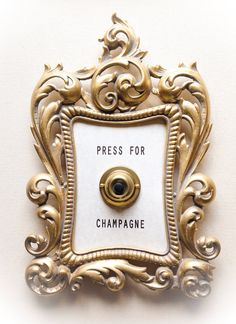 PRESS FOR ChAMPAGNE Framed Vintage Button by lisagolightly on Etsy