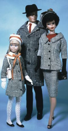 Bubble-cut Barbie, Ken & Skipper In tweed. I did not have Skipper or these tweed outfits.
