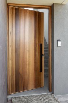 Modern Entrance Door, Front Door Entrance, House Front Door, Entry Doors, Modern Front Door, House Entrance, Front Entry Landscaping, Timber Front Door, Contemporary Front Doors