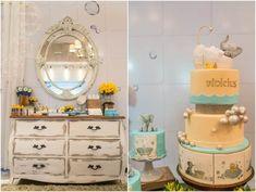 decoracao_cha_de_bebe3 Biscuit, Dresser, Vanity, Baby Shower, Furniture, Home Decor, Baby Boy Shower, Baby Girls, Yellow