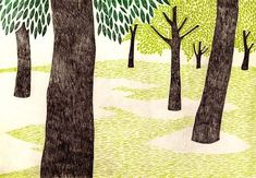 By Tamae Mizukami Kawaii Illustration, Forest Illustration, Plant Illustration, Fantasy Illustration, Graphic Design Illustration, Japanese Painting, Japanese Art, Summer Trees, Naive Art