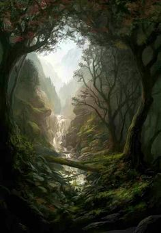 Land of enchantment - Lovely scene! by Andreas Rocha Fantasy Artwork, Fantasy Art Landscapes, Fantasy Landscape, Landscape Art, Fantasy Magic, Fantasy World, Fantasy Forest, Fantasy Kunst, Fantasy Places