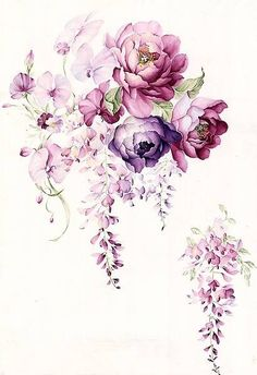 Pink and purple flowers  watercolor art