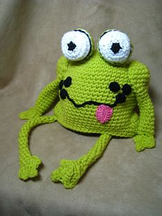 Funny frog hat! Could turn this into a pillow...