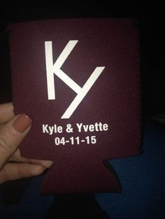 Aggie maroon koozie.  Bride and groom brand.  Wedding favor. Aggie wedding.  Country wedding.