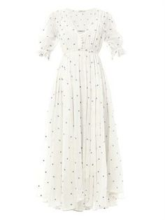 Louise dot-embroidered maxi dress