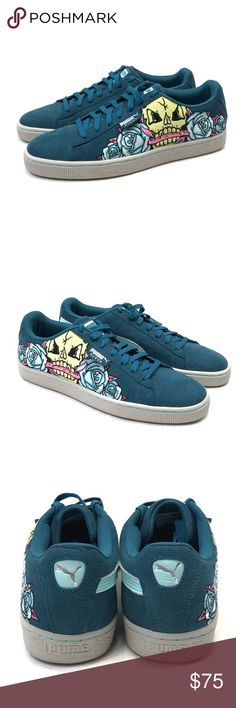 2d3fb57ac4 Puma Court Classic Suede Skull Patch Mens Sz Puma Court Classic Suede Skull  Patch Mens Blue Leather Shoes Size Brand New Without Box Puma Shoes Sneakers