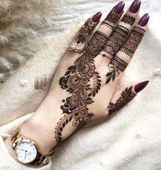 Pretty Henna Designs, Modern Henna Designs, Indian Henna Designs, Henna Tattoo Designs Simple, Finger Henna Designs, Back Hand Mehndi Designs, Latest Bridal Mehndi Designs, Full Hand Mehndi Designs, Stylish Mehndi Designs