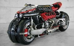 The Lazareth LM 847 quad-wheel motorcycle is the insane looking ride with an impressive 470 horses of raw power. The brainchild of Ludovic Lazareth, it features rim-mounted brakes, single sided swing-arms, and a formidable liter Maserati engine. Concept Motorcycles, Custom Motorcycles, Custom Bikes, Custom Baggers, Nissan 370z, Lamborghini Gallardo, 4 Wheels Motorcycle, Motorcycle Camping, Street Bikes