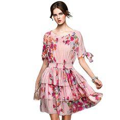 Ruffles Print Summer Half Sleeve Bow Dresses Knee-Length A-Line Vintage O-Neck Slim Women Dress
