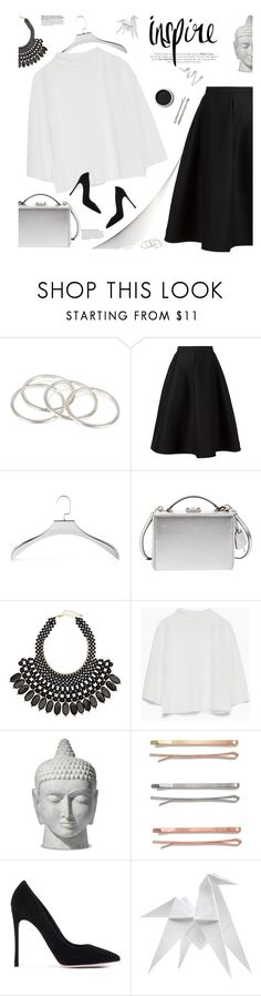 """metallic box clutch"" by jesuisunlapin ❤ liked on Polyvore featuring Vanessa Mooney, Vika Gazinskaya, Mike + Ally, Mark Cross, H&M, Zara, Madewell, Gianvito Rossi, Terre Mère and Hermès"