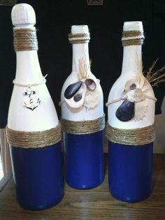 Wine bottle crafts! #nautical #upcycle