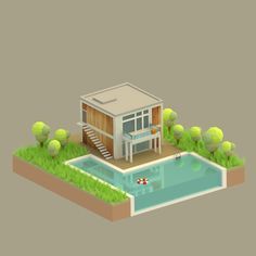Low poly house (just for fun) by alberto lovato, via Behance