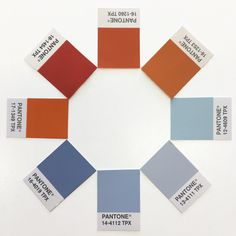 Pantone orange and blue colours in the studio