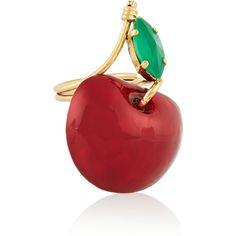 Erickson Beamon Cherry Pie gold-plated, Swarovski crystal and enamel... (12.405 UYU) ❤ liked on Polyvore featuring jewelry, rings, red, swarovski crystal jewelry, erickson beamon, red enamel ring, erickson beamon jewelry and erickson beamon ring