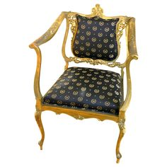 Stunning Louis XV Parlor Chair with Napoleonic Crest Fabric