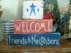 Primitive Painted Blocks | Primitive Shelf Blocks Welcome Friends and Neighbors | eBay