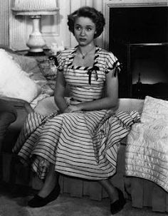 """Jane Powell in """"A Date With Judy"""" Her pink and black striped dress. Absolute favorite outfit she wears in the film. The musical number she does with Scotty Beckett is the best too!"""