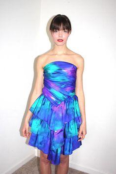 80s tie dye prom dress by ParlourVintage on Etsy, $45.00