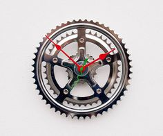 Recycled Bike crank clock by pixelthis on Etsy, $57.00