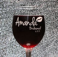 Personalized Bridesmaid Wine Glasses Laser etched, Bridesmaid Gifts, The Bachelorette party, stock the bar, bridal shower favor, thank you on Etsy, $10.00