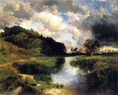 off Hand made oil painting reproduction of Cloudy Day At Amagansett, one of the most famous paintings by Thomas Moran. Although much of Thomas Moran's artistic career was based off taking the great natural beauties of the Am. Claude Monet, Landscape Art, Landscape Paintings, Vincent Van Gogh, Edward Moran, Thomas Moran, Hudson River School, Mary Oliver, Wow Art