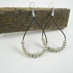 Teardrop Leather Hoops with Hill Tribe Bead Earrings