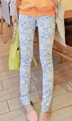 Elegant floral pencil pants C105