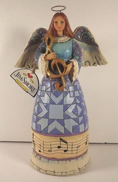 "Jim Shore Angel Play The Song In Your Heart Figurine Heartwood Creek Enesco 9.5"" #Enesco"