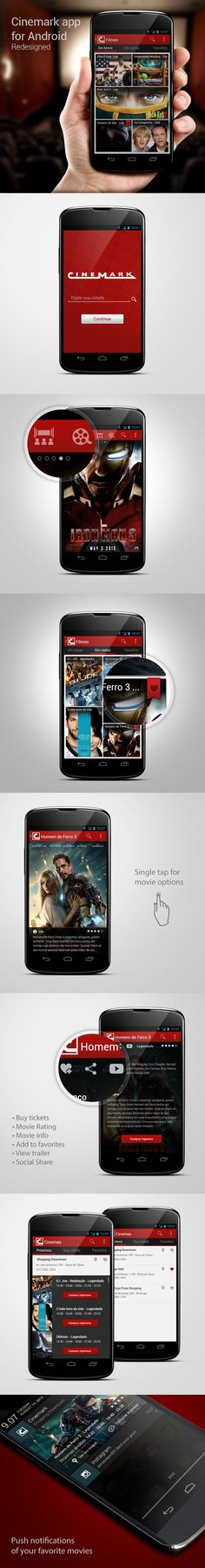 Cinemark app for Android Redesigned by Ricardo Monteiro, via Behance