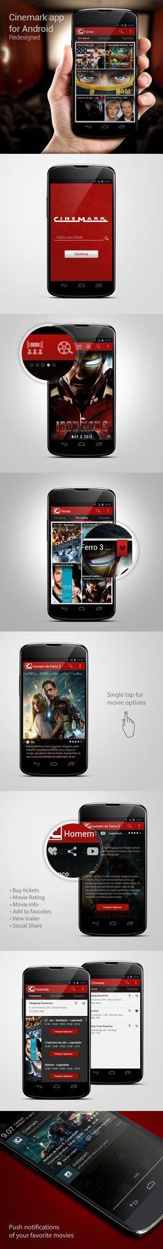 Cinemark app for Android Redesigned by Ricardo Monteiro, via Behance
