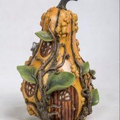 Vivid Arts Miniature World/New Fairy Garden House/Rustic Mustard Gourd House Clay Fairy House, Fairy Garden Houses, Fairies Garden, Miniature Fairy Gardens, Miniature Houses, Fairy Gifts, Clay Fairies, Painted Gourds, Garden Decor Items