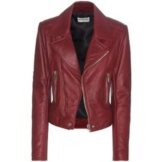 Balenciaga Leather Biker Jacket ($3,170) ❤ liked on Polyvore featuring outerwear, jackets, red, real leather jackets, 100 leather jacket, balenciaga, biker jackets and red motorcycle jacket