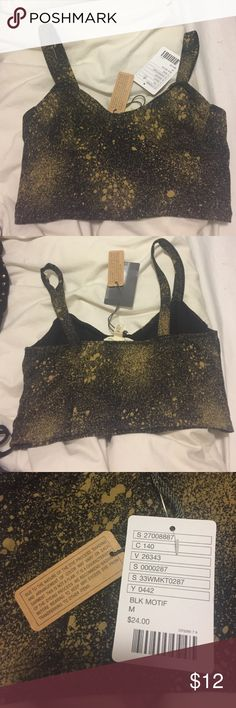 Black Paint Splatter Bralette NWT. Urban outfitters Bralette with gold splatter design. Can offer discount on purchase of multiple bralettes/bandeaus. Will include any $5 item from my closet as free gift with $10+ purchase - just comment and let me know what you'd like & I'll throw it in the shipment! 💞 silence + noise Intimates & Sleepwear