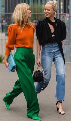 Street Style #streetstyle... i just love this orange and green outfit. its so weird...i love it.