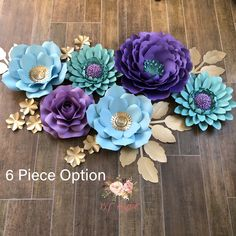 This beautiful set with just the 6 pieces. I have 1 more flower cut out but haven't assembled it. But I love how this set looks just as it… Large Paper Flowers, Crepe Paper Flowers, Paper Flower Backdrop, Big Flowers, Paper Roses, Paper Decorations, Flower Decorations, House Decorations, Flower Cut Out