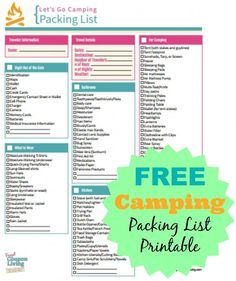 FREE Camping Packing List Printable #free #freebies #list #camping #packing http://www.frugalcouponliving.com/2014/07/13/free-camping-packing-list-printable/