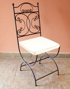 Moroccan Foldable Iron Garden Chair in a Rustic Finish