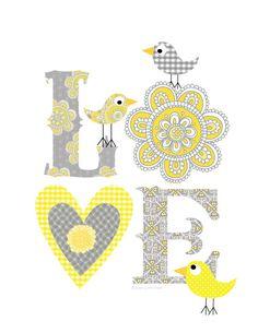 Kids Wall Art-Gray Yellow Love print Art Decor by EllenCrimiTrent