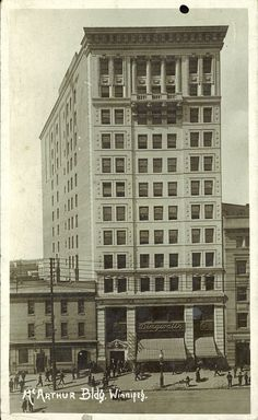 McArthur Building, ca. 1915--   Peel's Prairie Provinces, a digital initiative of the University of Alberta Libraries  Designed by architect J.H.G. Russell, the McArthur Building was constructed between 1909 and 1910 for $400,000. Once the tallest building in Winnipeg, the structure stood until the late 1980s when it was demolished to make way for the TD building.