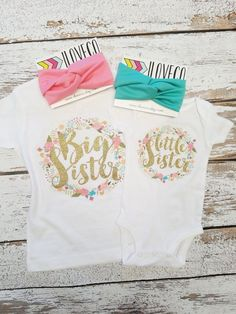 GLITTER Big Sister Little Sister Outfit  / Headbands by iloveco