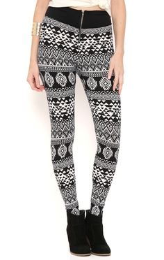 Deb Shops allover aztec printed peached high waisted legging with front zipper $12.60