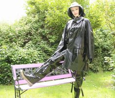 Annabel from pvc and raincoat fetish Mackintosh Raincoat, Shiny Days, Rubber Raincoats, Pvc Raincoat, Wellies Boots, Rain Gear, Black Rubber, Riding Boots, Women Wear