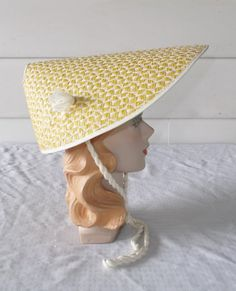 1960s Vintage Yellow Straw Beach or Sun Hat by MyVintageHatShop