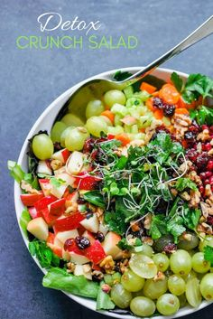 This detox crunch salad recipe is full of all the best ingredients - grapes, apples, carrots, walnuts, pomegranate seeds, cranberries and more. It's a delicious, flavorful meal when you're craving a healthy, fresh lunch or dinner! #vegan #detox #salad