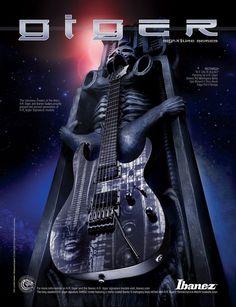 A Giger Guitar Ibanez, Hr Giger Art, Giger Alien, Signature Guitar, Guitar Photos, Aliens Funny, Light Installation, Art Installations, Guitar Collection, Pulsar