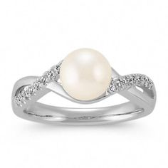 SI2 clarity, G-I color Jewelry Adviser Rings 14k 6mm FW Cultured Pearl AAA Diamond ring Diamond quality AAA