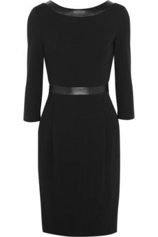 Gucci Leather-trimmed stretch-crepe dress